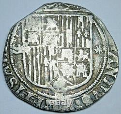 1400s-1500s Ferdinand Isabella Spanish Silver 1 Reales Antique Columbus Cob Coin