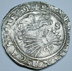 1474-1504 Ferdinand and Isabella Spanish Silver 1 Reales 1400s Columbus Cob Coin