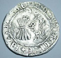 1474-1504 Ferdinand and Isabella Spanish Silver 1 Reales Real Columbus Cob Coin