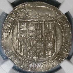 1474 NGC AU 53 Spain Ferdinand Isabella 1 Real Columbus Cob Coin (20012403C)