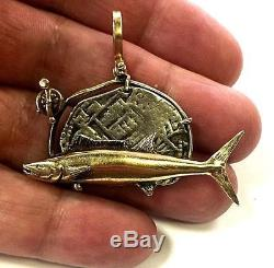 14K Solid Yellow Gold Wahoo Fish & Reel & Silver Reale Atocha Cob Coin Pendant