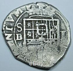 1500's-1600's Spanish Seville B Silver 1 Reales Antique Colonial Pirate Cob Coin
