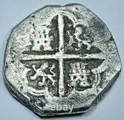 1500's-1600's Spanish Seville B Silver 4 Reales Antique Colonial Pirate Cob Coin