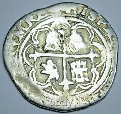 1500's Mexico Silver 1 Reales Antique Philip II Spanish Colonial Pirate Cob Coin