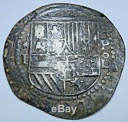 1500's P o D Philip II Peru Silver 1 Reales Diego De La Torre Spanish Cob Coin