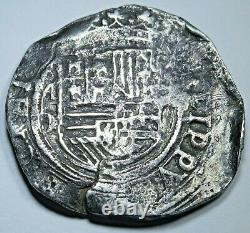 1500's Philip II Mexico Silver 4 Reales Antique Spanish Colonial Pirate Cob Coin