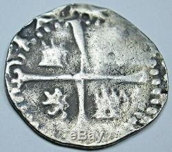 1500's Philip II Potosi B Silver 1/2 Reales Antique Spanish Colonial Cob Coin