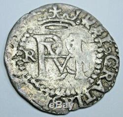 1500's Philip II Potosi R Spanish Silver 1/2 Reales VF Antique Pirate Cob Coin