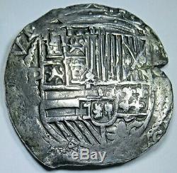 1500's Philip II Spanish Bolivia Silver 8 Reales Potosi Colonial Dollar Cob Coin
