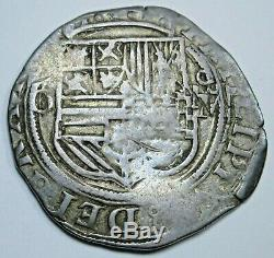 1500's Philip II Spanish Mexico Silver 1 Reales Antique Colonial Pirate Cob Coin