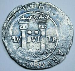 1500's Spanish Mexico 2 Reales Carlos & Johanna Antique Silver Two Real Cob Coin