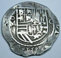 1500's Spanish Mexico Silver 1 Reales Antique Philip II Colonial Pirate Cob Coin