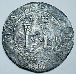 1500's Spanish Mexico Silver 1 Reales Carlos & Johanna Antique Colonial Cob Coin