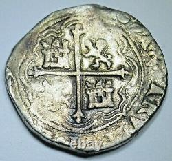 1500's Spanish Mexico Silver 2 Reales Antique Philip II Colonial Pirate Cob Coin