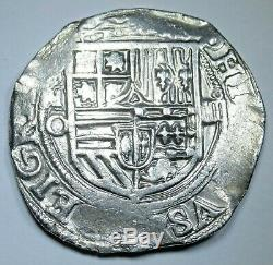 1500's Spanish Mexico Silver 4 Reales Piece of 8 Real Colonial Pirate Cob Coin