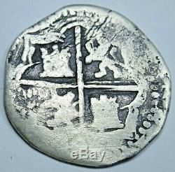 1500's Spanish Silver 1 Reales Piece of 8 Real Antique Colonial Cob Pirate Coin