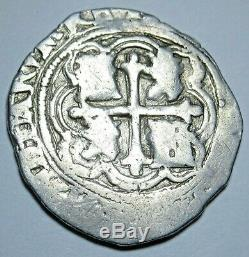 1500's Spanish Silver 1 Reales Piece of 8 Real Colonial Antique Pirate Cob Coin