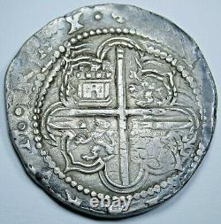 1500's Spanish Silver 4 Reales Philip II 16th Century Colonial Pirate Cob Coin