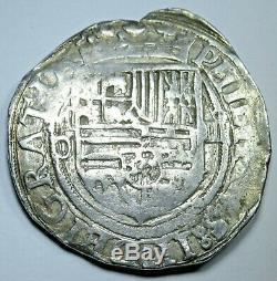 1500's Spanish Silver 4 Reales Piece of 8 Real Colonial Pirate Treasure Cob Coin