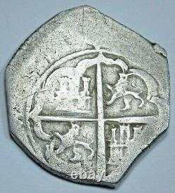 1500's Spanish Toledo Silver 2 Reales Piece of 8 Real Colonial Pirate Cob Coin