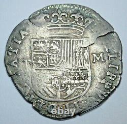 1500's Toledo Spanish Silver 1 Reales Antique Colonial Pirate Treasure Cob Coin