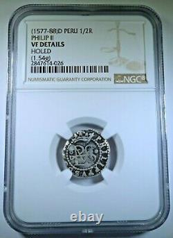1500's o D Philip II Peru Silver 1/2 Reales Diego De La Torre Spanish Cob Coin