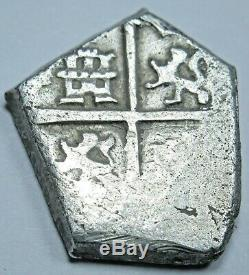 1500s-1600s Spanish Silver 1 Reales Cob Piece of 8 Real Old Colonial Pirate Coin