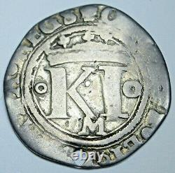 1500s Charles Johanna Mexico 1/2 Reales Antique Spanish Colonial Pirate Cob Coin