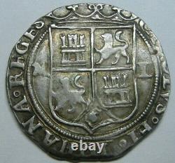 1500s MEXICO 2 REAL COB PILLAR ASSAYER L CHARLES & JOHANNA SILVER COLONIAL ERA