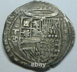 1500s PHILIP II 4 REAL COB TOLEDO SPANISH SILVER COLONIAL ERA ANTIQUE SILVER COB