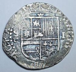 1500s Philip II Spanish Silver 1 Real One Reales Pirate Cob Pirate Treasure Coin