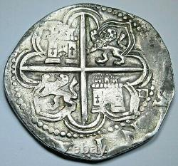 1500s Philip II Spanish Silver 4 Reales Genuine Antique Colonial Pirate Cob Coin
