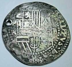 1500s Spanish Bolivia Silver 2 Reales Antique Philip II Colonial Pirate Cob Coin