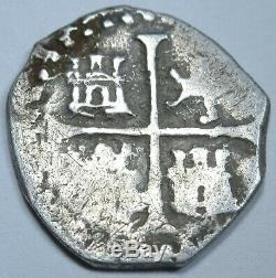 1500s Spanish Silver 1/2 Reales Piece of 8 Real Antique Pirate Treasure Cob Coin