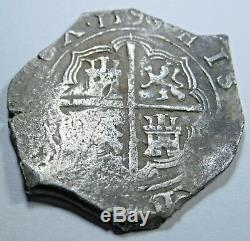 1500s Spanish Silver 2 Reales Piece of 8 Real Colonial Two Bit Treasure Cob Coin