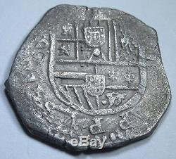 1500s Spanish Silver 2 Reales Two Real Cob Colonial America Pirate Treasure Coin