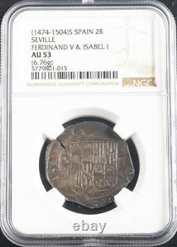 1504, Spain, Catholic Monarchs. Silver 2 Reales Cob Coin. Seville! NGC AU-53