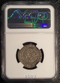 1542-1555 MEXICO SILVER COB 1 Real KM9 NGC XF mounted Carlos & Johanna coin