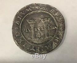 1542-55 M G Silver Mexico 4 Reales Carlos & Joanna Colonial Cob Km# 0018