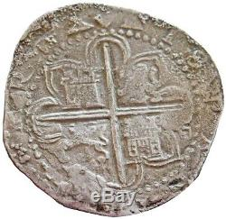 1556-1598 Seville D Silver Spain Philip II 8 Reales Cob Vf Condition