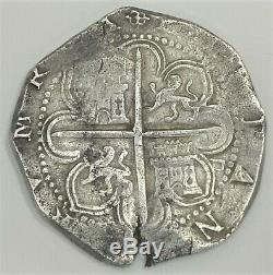1556-1598 Spain 8 Reales Cob Sevilla D Felipe II Xf Silver Coin