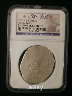 1556-1622 Sao Jose Spanish Cob 8 Reales NGC Shipwreck Certified Rare Silver Coin