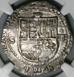 1556 NGC XF 40 Spain 4 Reales Philip II Seville Cob Silver Coin (20112303C)