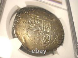 1556 Spain 8 Reales Philip II Seville Cob Silver Coin XF-40 NGC