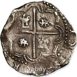 1574-1576 Bolivia Silver Cob 2 Reales, Macuquina, MB-3.2, Potosi, Rincon, Ch. XF
