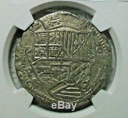 (1574-1586) Pb Bolivia Felipe II Silver Cob 8 Reales Ngc Xf-45