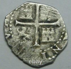 1588 PHILIP II 1/2 REAL COB SEVILLA ASSAYER P SPANISH SILVER COLONIAL ERA 1500s
