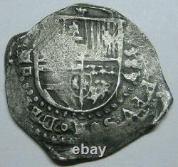 1589 /8 PHILIP II 2 REAL COB SEVILLA 1500s SPANISH SILVER COLONIAL ERA COB
