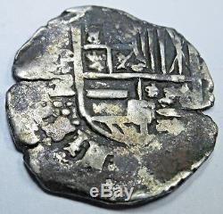 1590-1615 Spanish Potosi Silver 2 Reales Real Two Bits Pirate Cob Treasure Coin