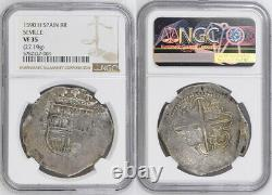 1590, Kingdom of Spain, Philip II. Silver 8 Reales Cob Coin w. Date! NGC VF-35